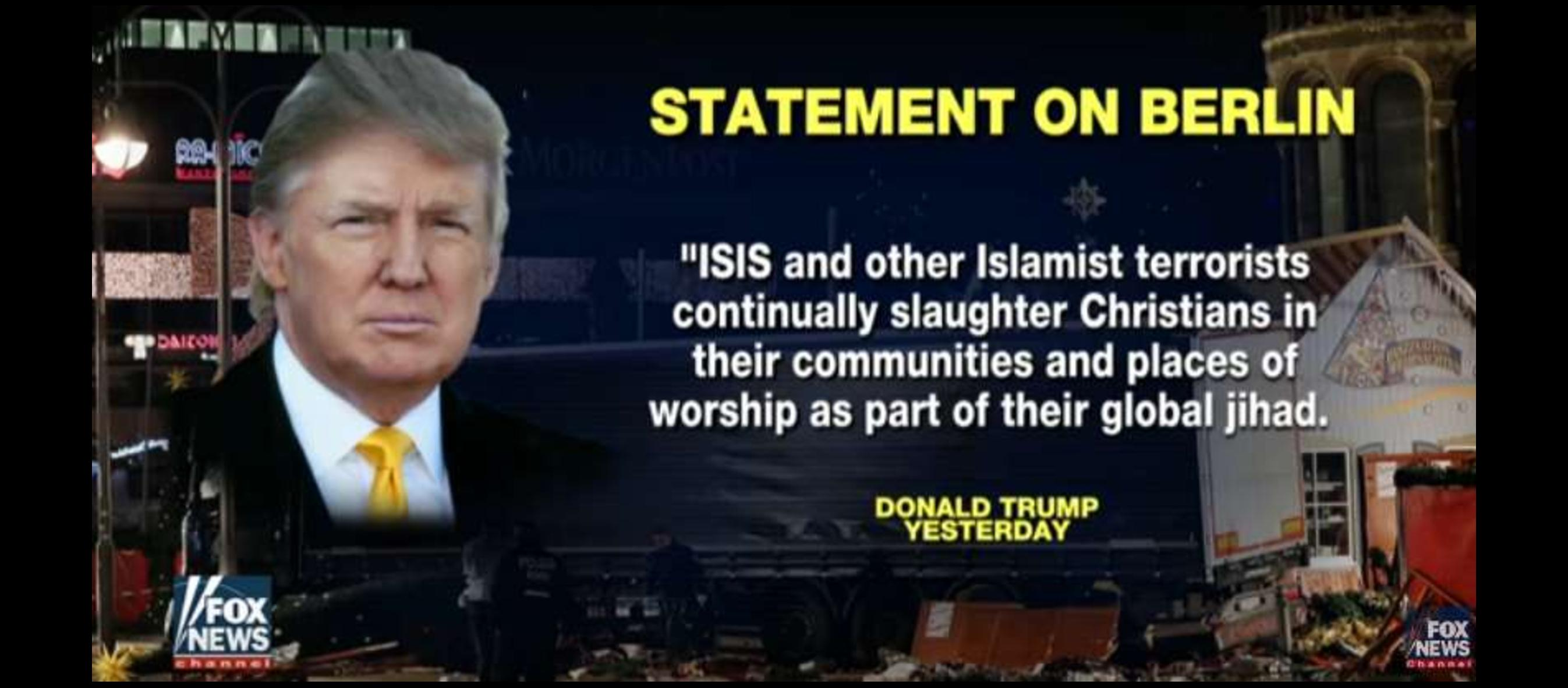 """WATCH: """"Islamists…continually slaughter Christians,"""" says Trump"""