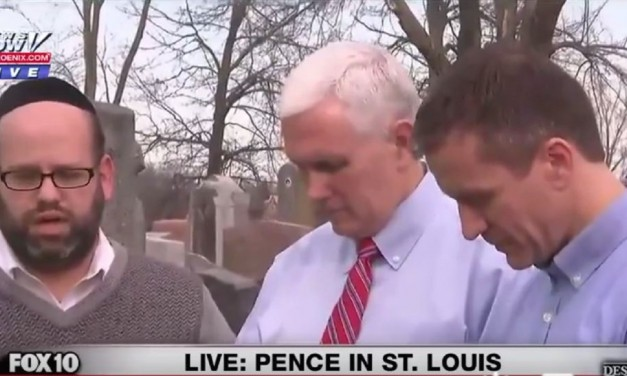 WATCH: Vice President Pence makes surprise visit to vandalised Jewish cemetery – helps in clean-up and prays with Jewish community