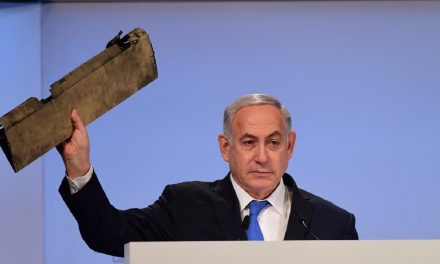 """Netanyahu with piece of Iranian drone: """"Mr Zarif, do you recognise this?"""""""