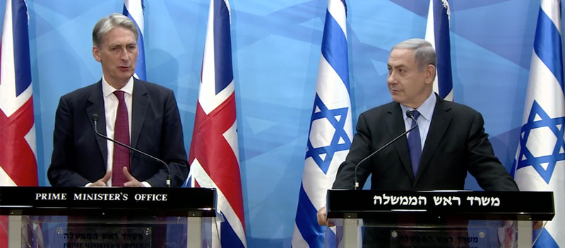 VIDEO: Israel PM Netanyahu and UK Foreign Secretary Hammond meet in Israel