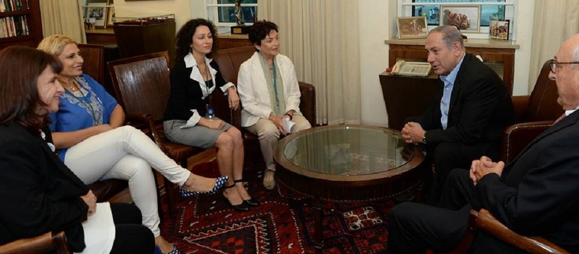 Prime Minister Netanyahu meets with Women Wage Peace. Picture from Tal Schneider / Twitter