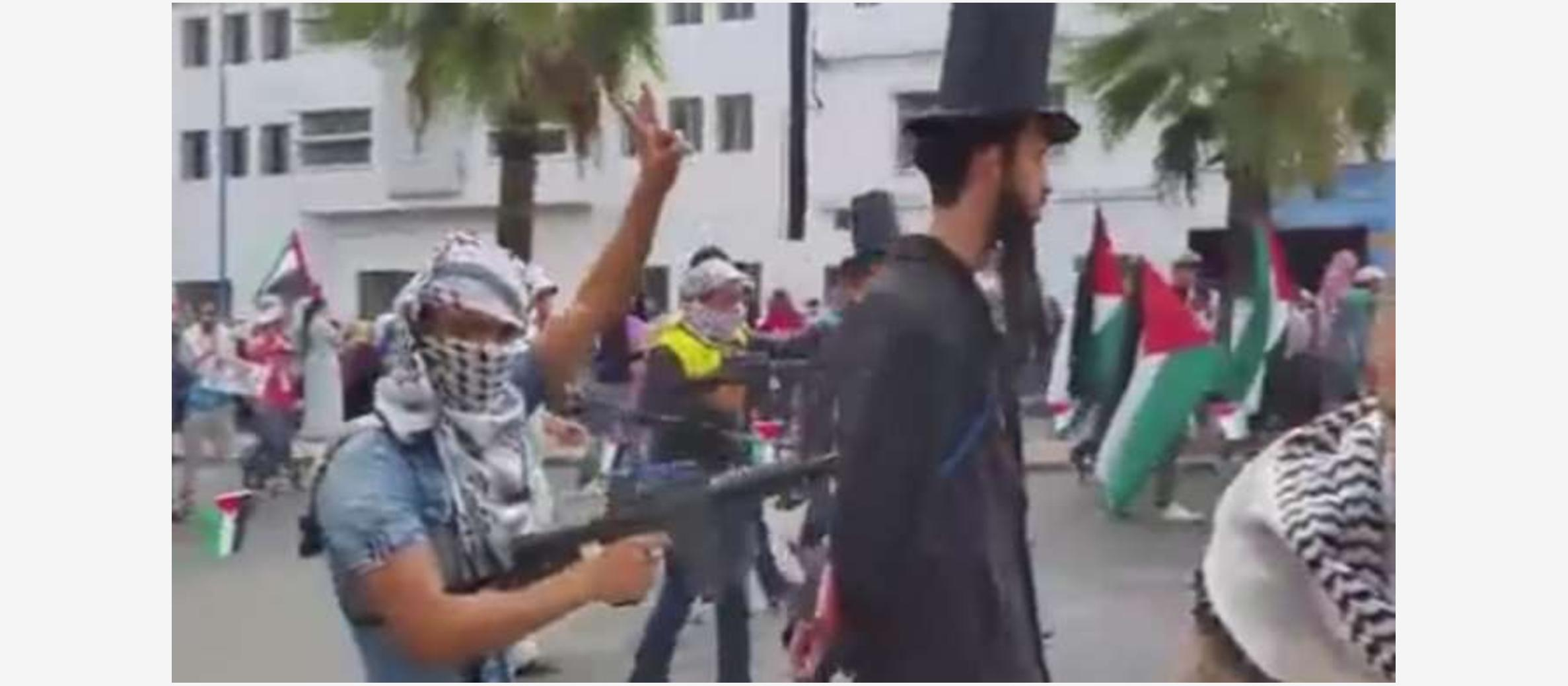 Demonstrators 'execute' fake ultra-Orthodox Jews at pro-Palestinian protest in Morocco