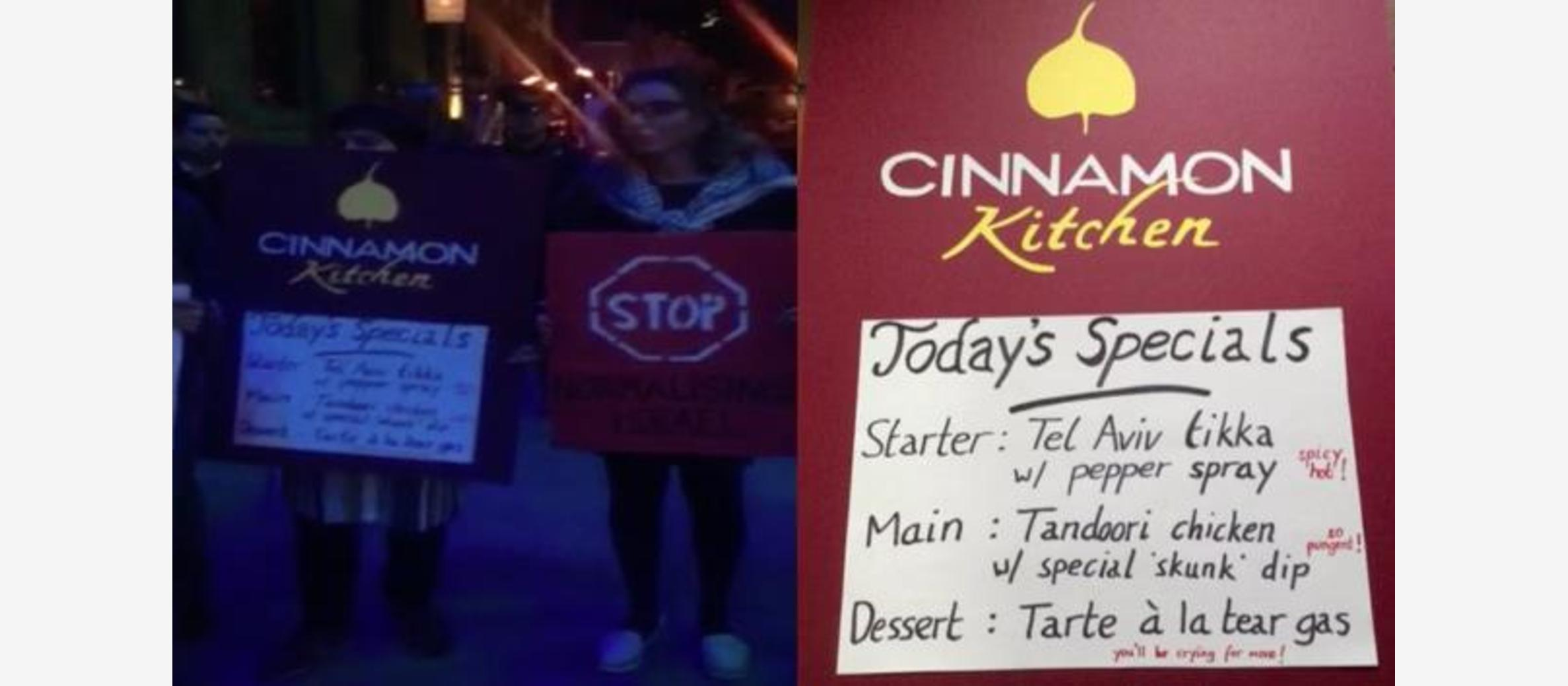 BDS activists target London Indian restaurant
