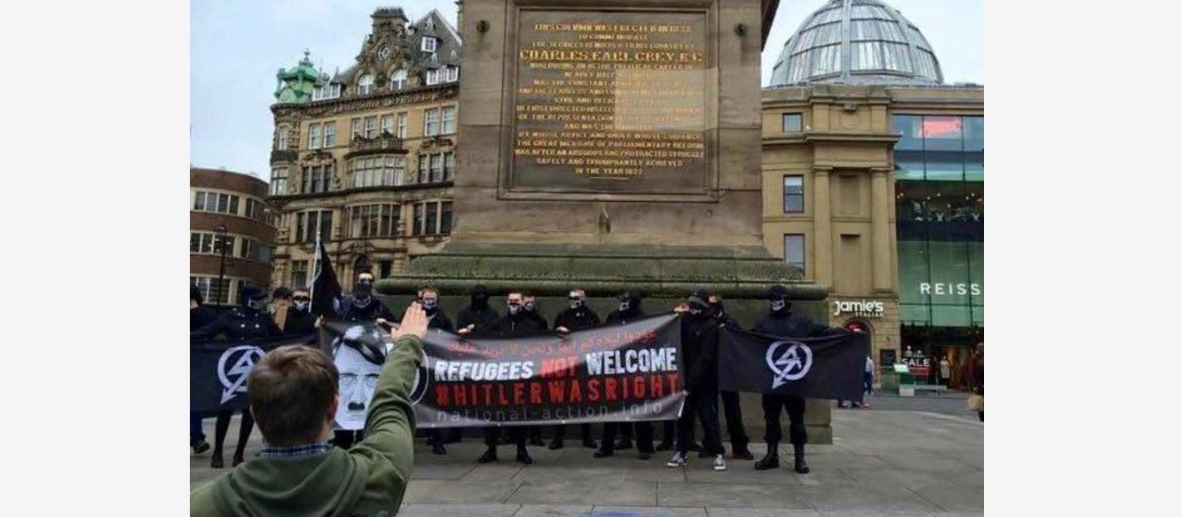 Neo-Nazis demonstrate with 'Hitler Was Right' banner in Newcastle