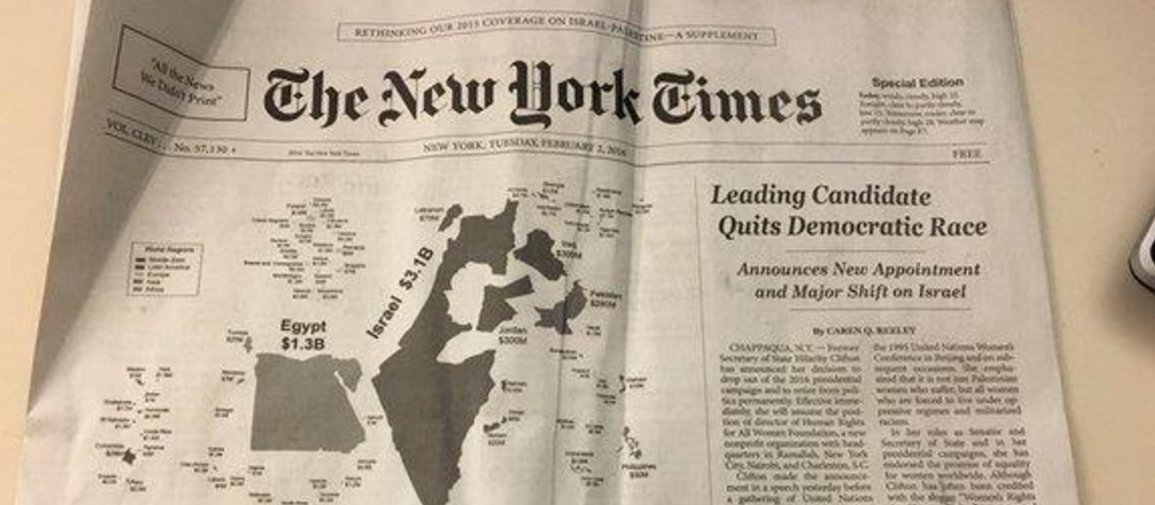 Thousands of FAKE anti-Israel New York Times distributed across city