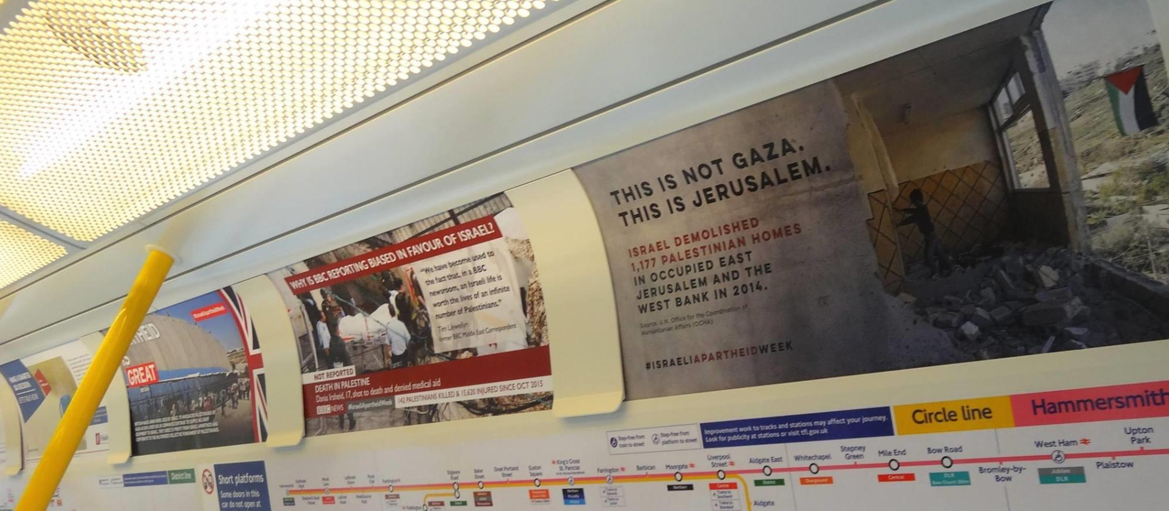 London Tube trains targeted by anti-Israel poster campaign