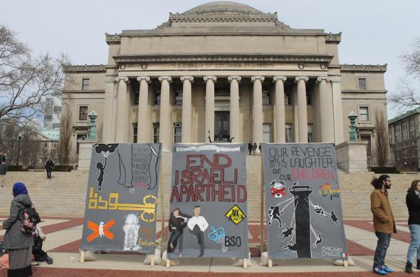 "Anti-Israel students at Columbia University erected a mock ""apartheid wall"" in front of the iconic Low Library steps. Image: JTA"
