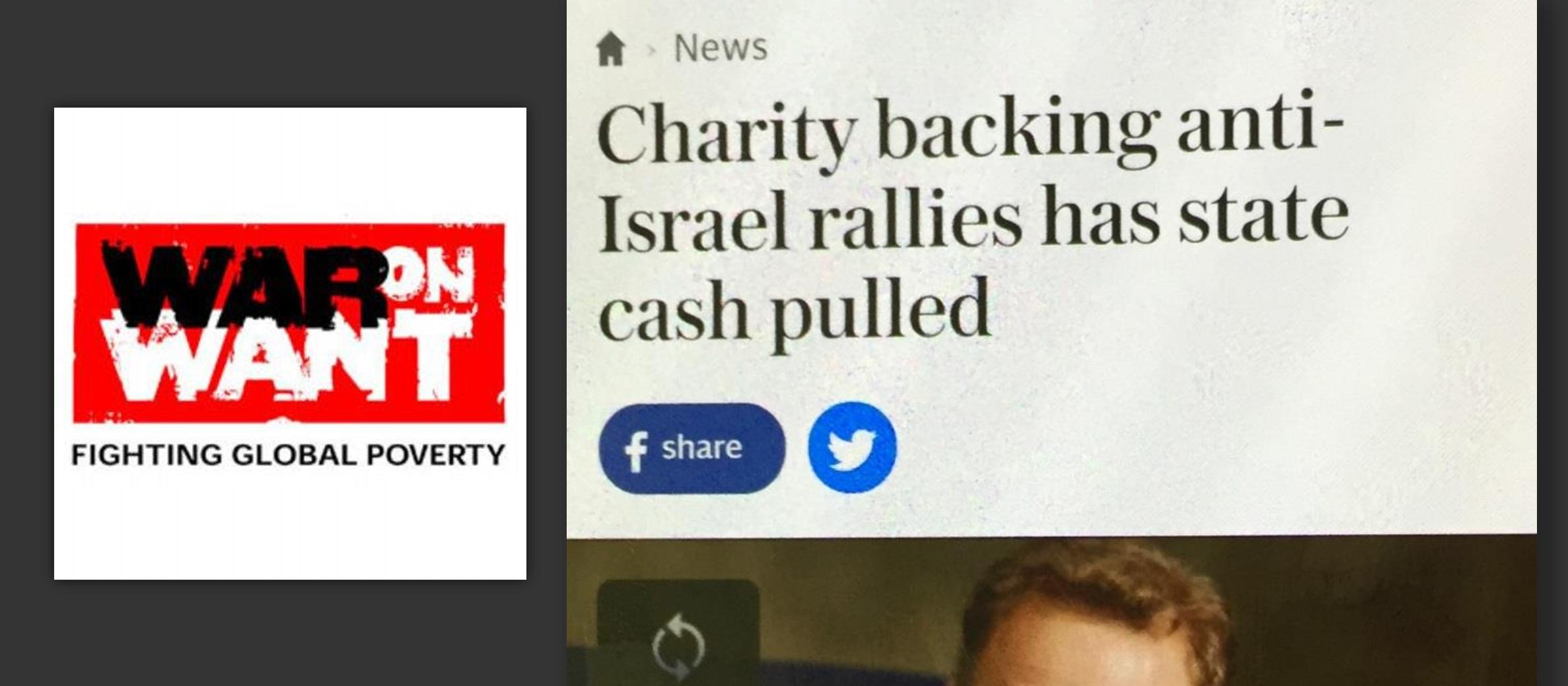 "Government removes funding of ""anti-Israel"" charity, says Telegraph report"