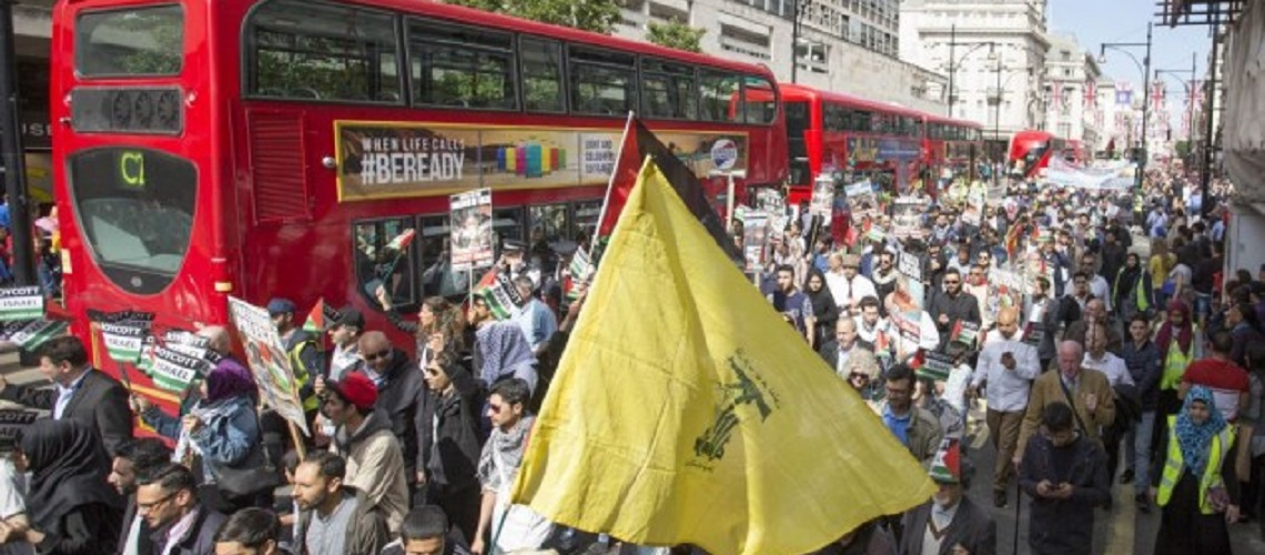 ACTION ALERT: Hezbollah flags paraded in London – Contact Theresa May