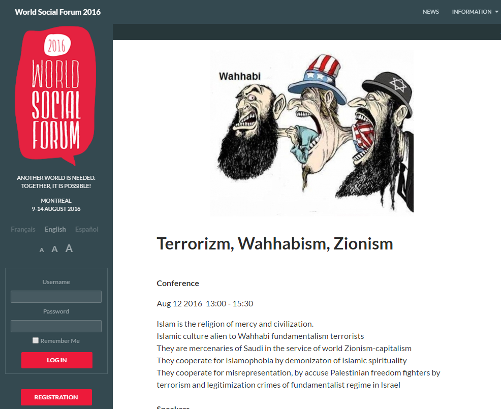 A screenshot of the World Social Forum's website, showing their anti-Semitic views.