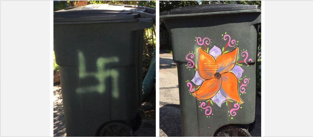 Someone painted a swastika on Jewish mum's rubbish bin. Here's how community is responding