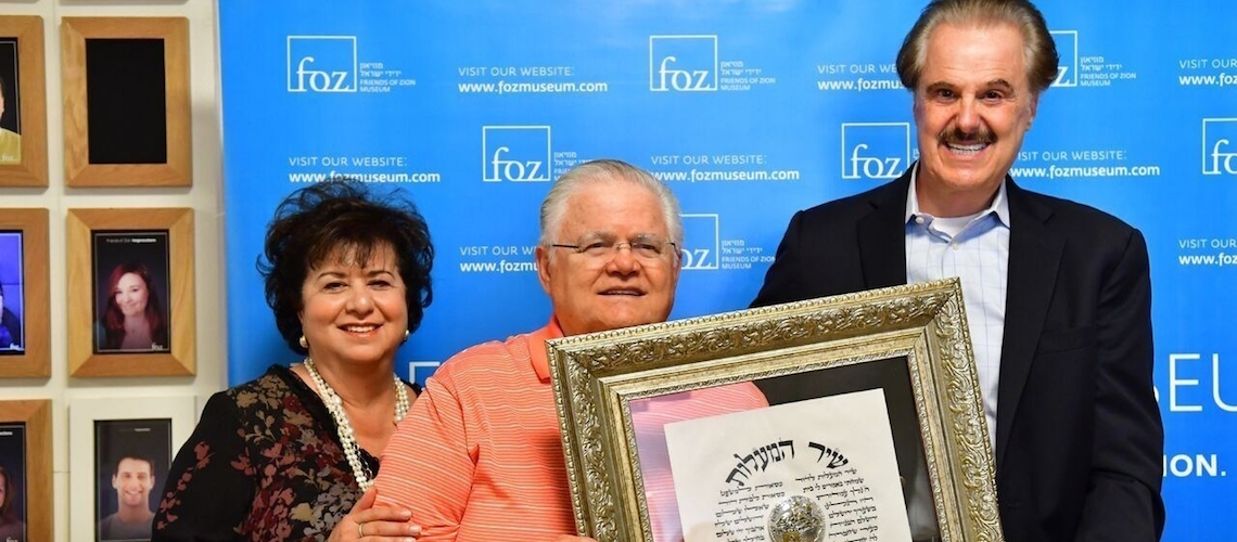"""CUFI founder Pastor John Hagee receives the """"Friend of Zion"""" medallion in Israel"""