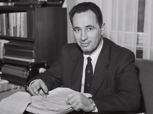 SHIMON PERES, AGE 29 AS DIRECTOR GENERAL, DEFENCE MINISTRY.