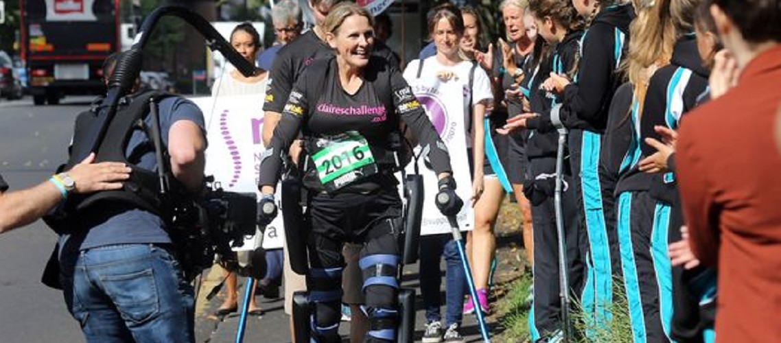 Amazing: Paralysed Claire Lomas completes Great North Run using Israeli-made bionic suit
