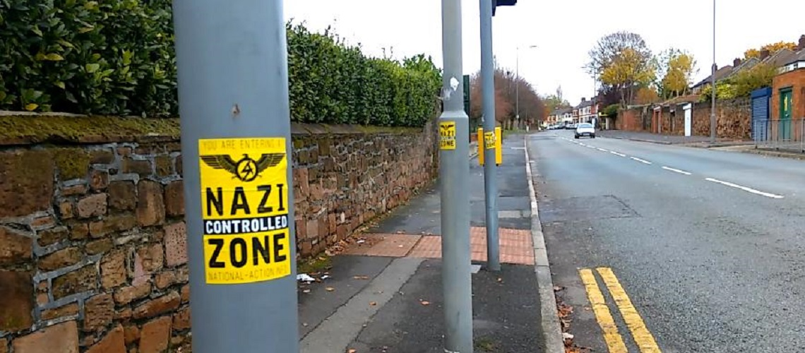 """Nazi-controlled zone"" stickers put up across part of Liverpool on Remembrance Sunday"