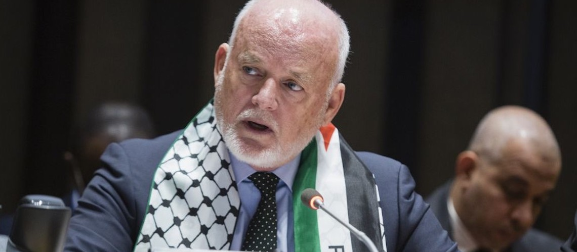 President of UN General Assembly wears Palestinian scarf to show solidarity