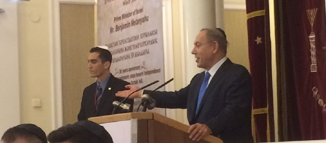 Netanyahu visits synagogue in Kazakhstan – lauds as as 'model' of coexistence