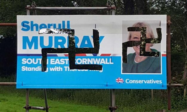 Pro-Israel Tory candidate's election poster vandalised with swastikas