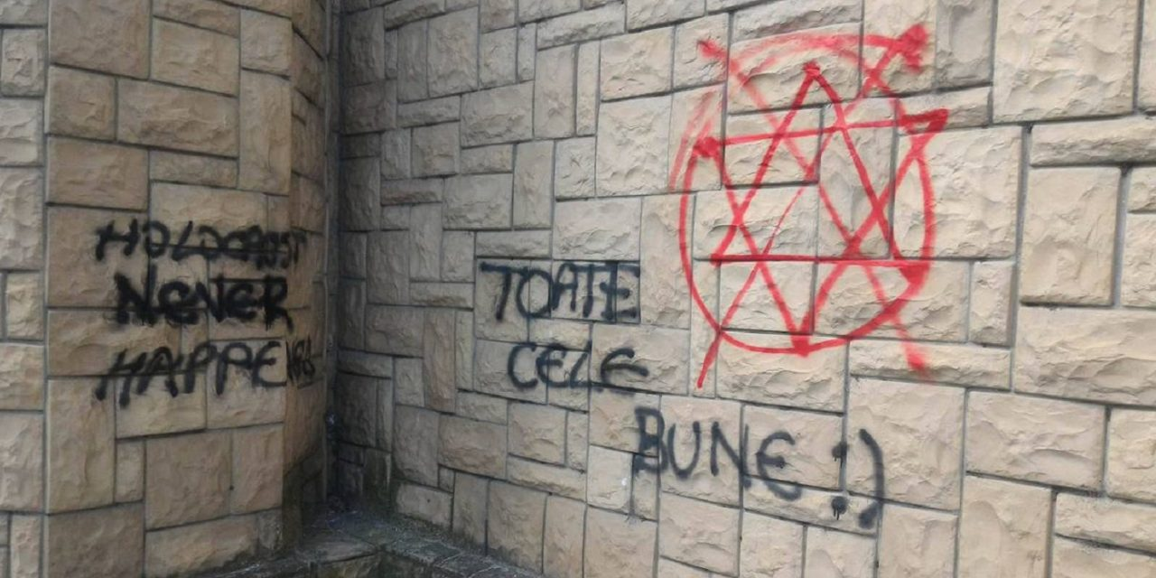 Antisemitic messages sprawled on a synagogue in central Romania
