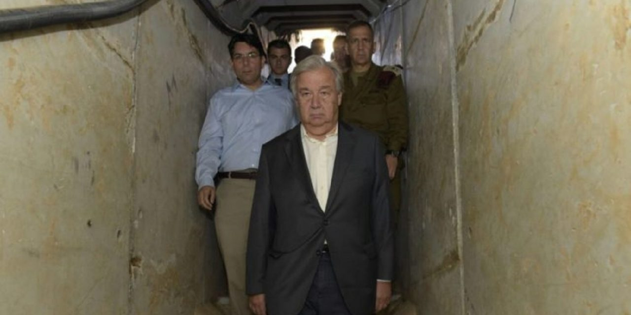 UN chief given guided tour of Hamas terror tunnel