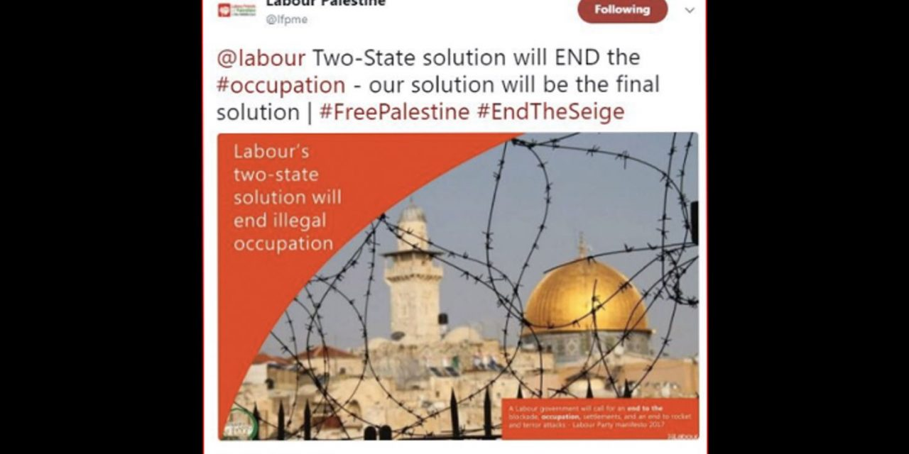 Labour Friends of Palestine group deletes appalling 'final solution' tweet