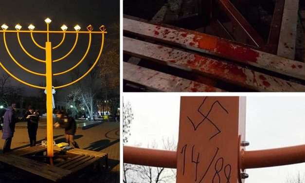 Ukraine: Hanukkah menorah vandalized with 'blood' and swastika