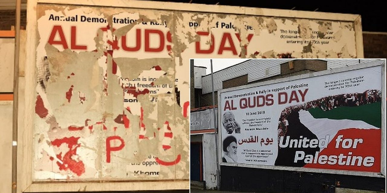 "Iranian-backed ""Al-Quds Day"" billboard in Luton removed after complaints"