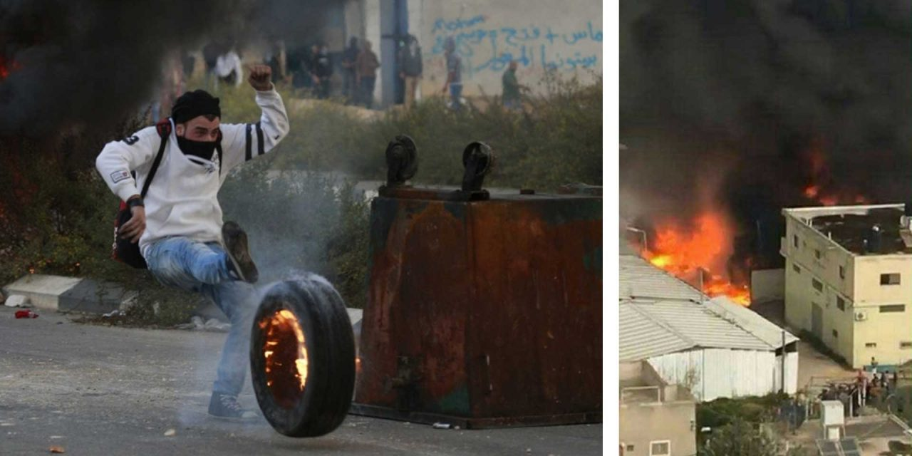 Rioters send burning tyres towards Israeli soldiers, accidentally burn down Palestinian factory