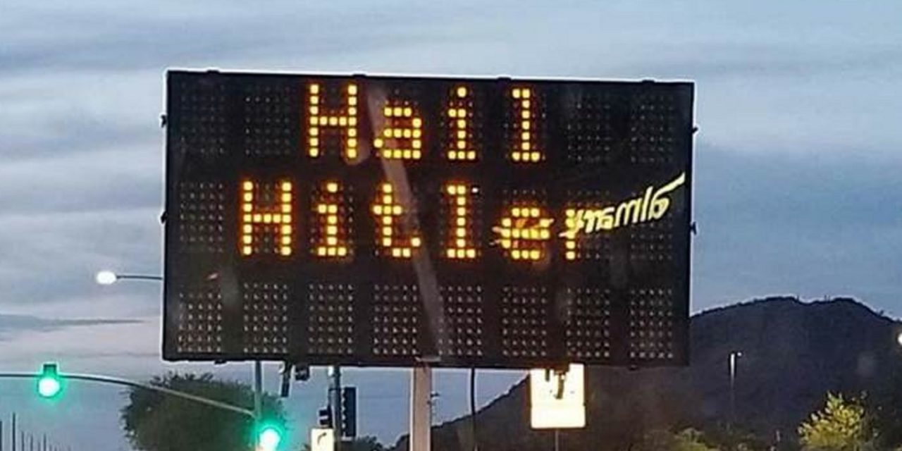 "Hacked road sign will not be investigated as hate-crime since ""no individual victim was targeted"""