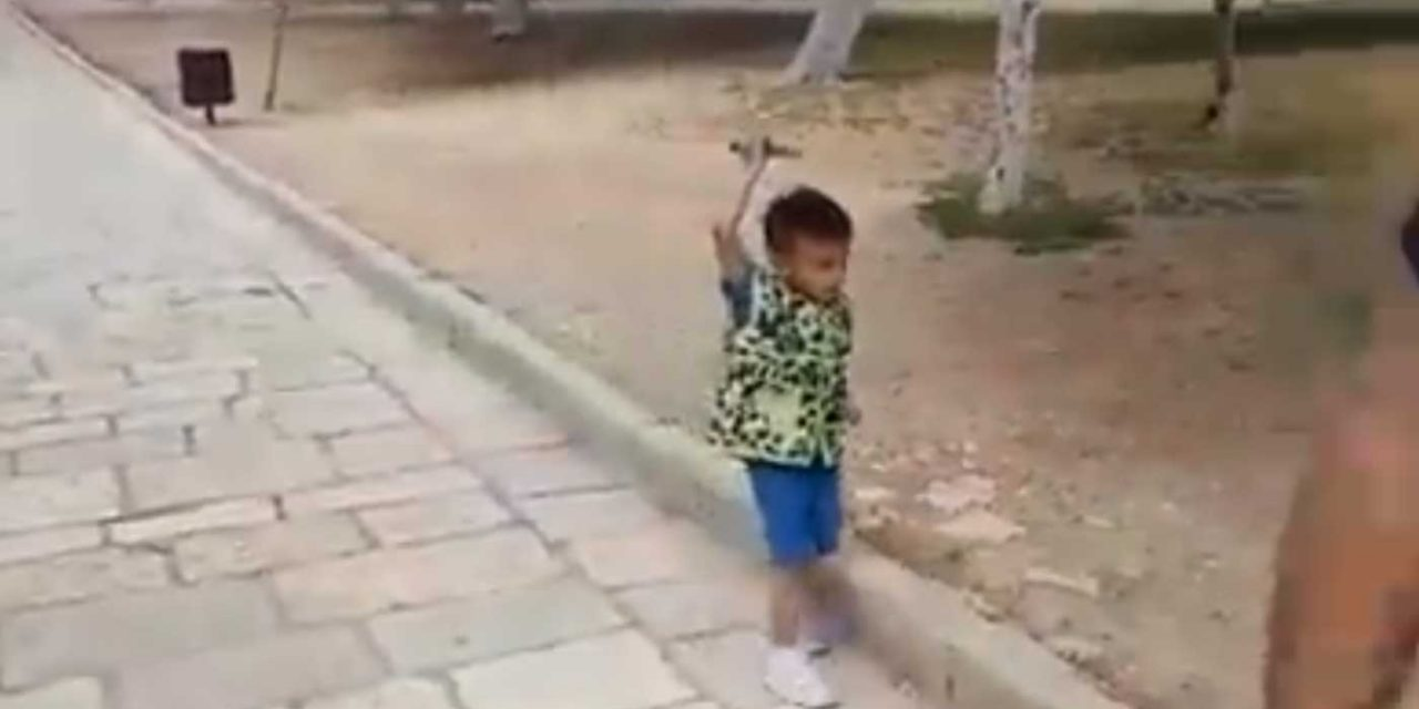 Watch: Palestinian children threaten Jews with toy knives and guns on Temple Mount