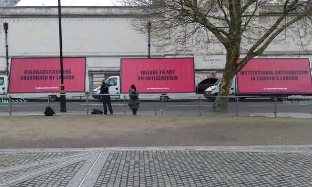 Billboards outside Labour HQ over failure to tackle anti-Semitism