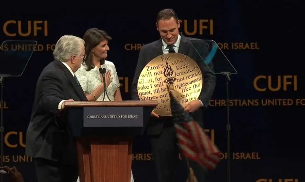 """CUFI honours Ambassador Nikki Haley with """"Defender of Israel"""" award"""