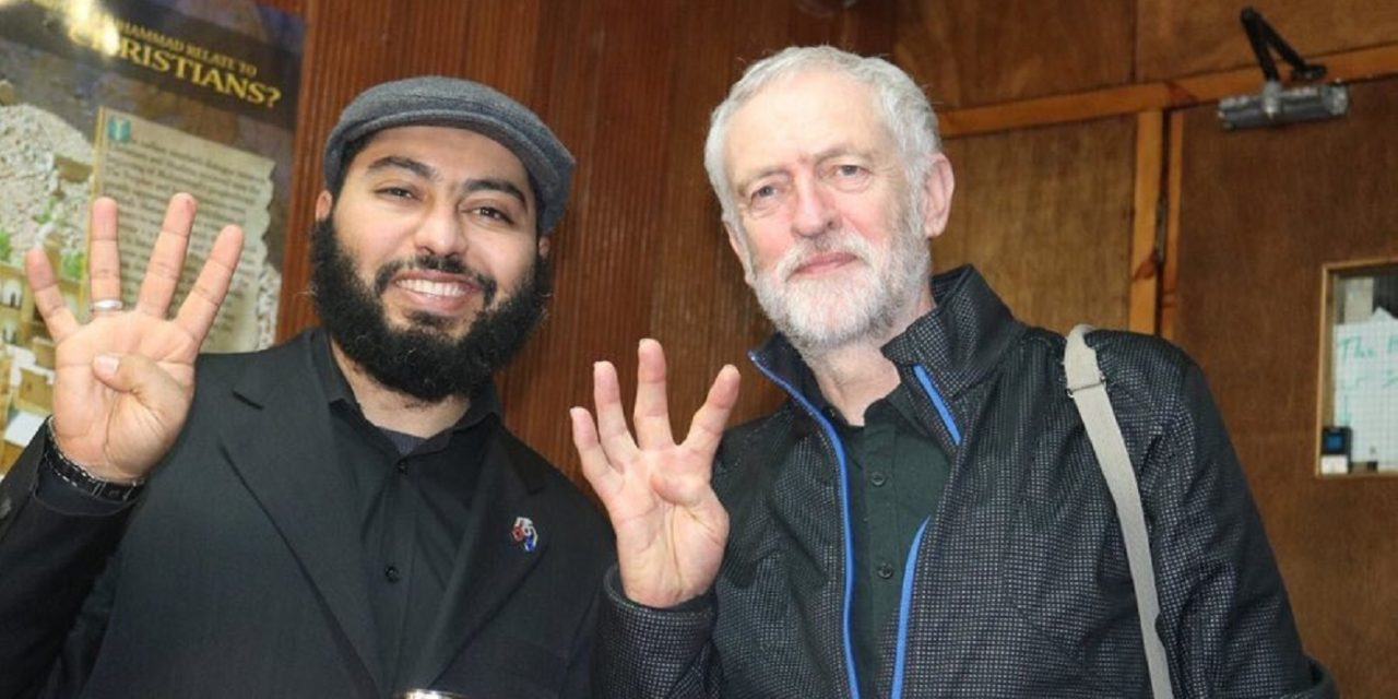 Corbyn pictured making Muslim Brotherhood hand sign