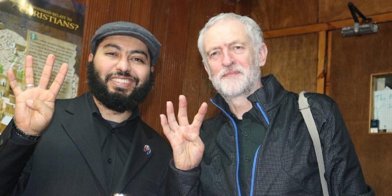 Corbyn pictured making Muslim Brotherhood hand sign