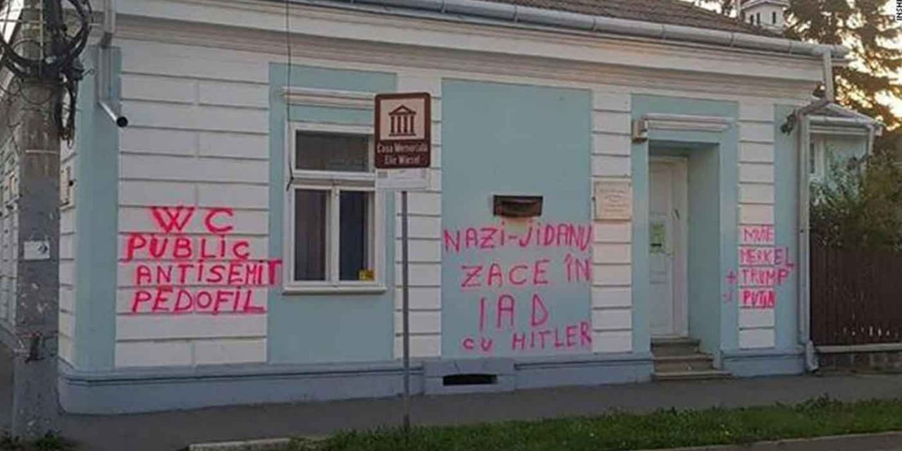Elie Wiesel's childhood home vandalised with anti-Semitic graffiti in Romania