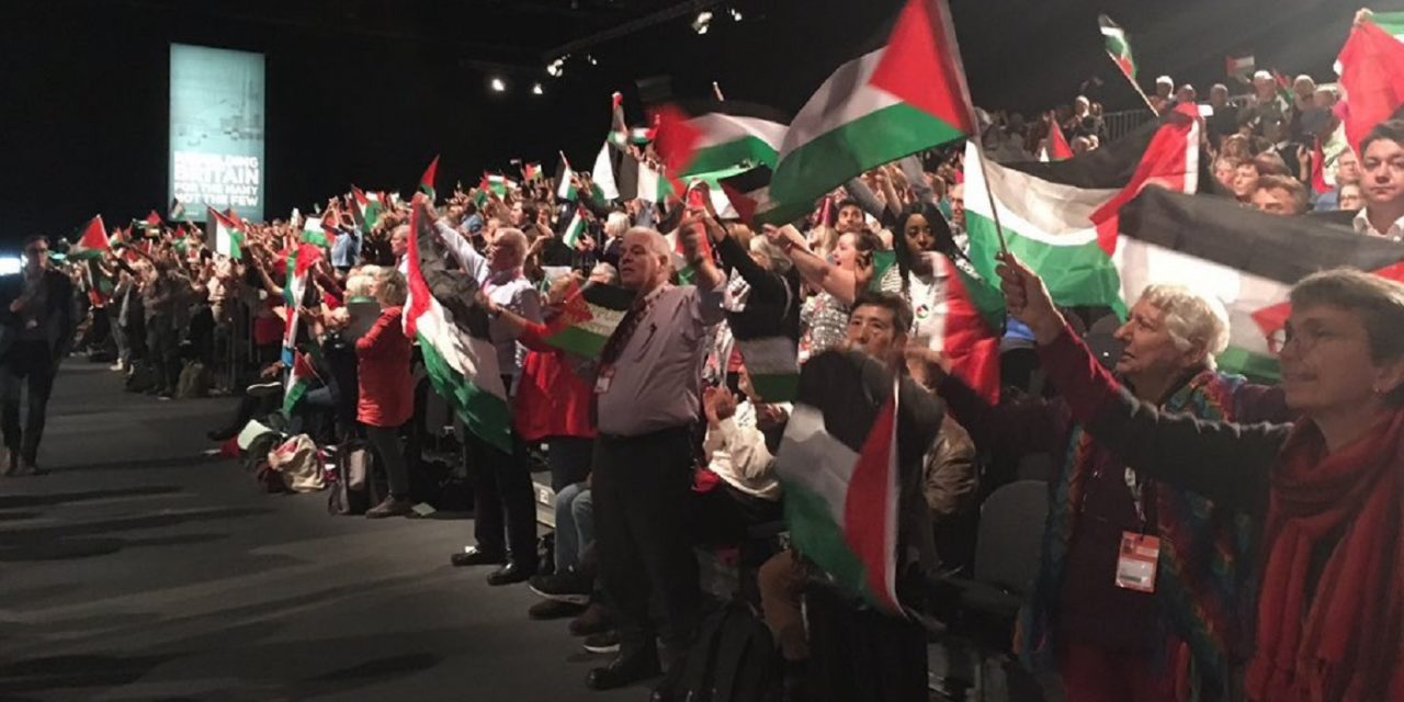 Hundreds fly Palestinian flags at Labour conference… and not a British flag in sight