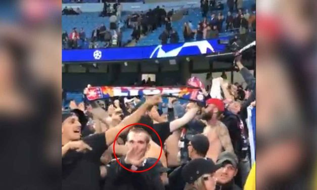 Lyon football club vows lifetime ban for fan filmed performing Nazi salute in Manchester