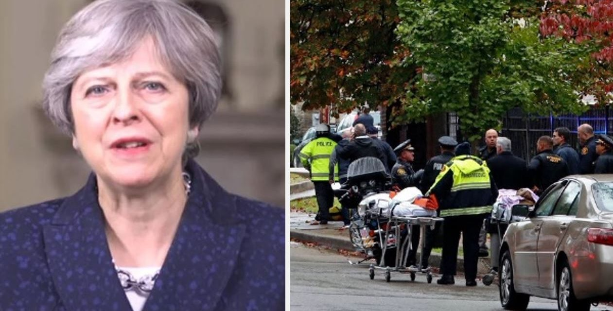"Theresa May condemns ""sickening and cowardly"" shooting at Pittsburgh synagogue"