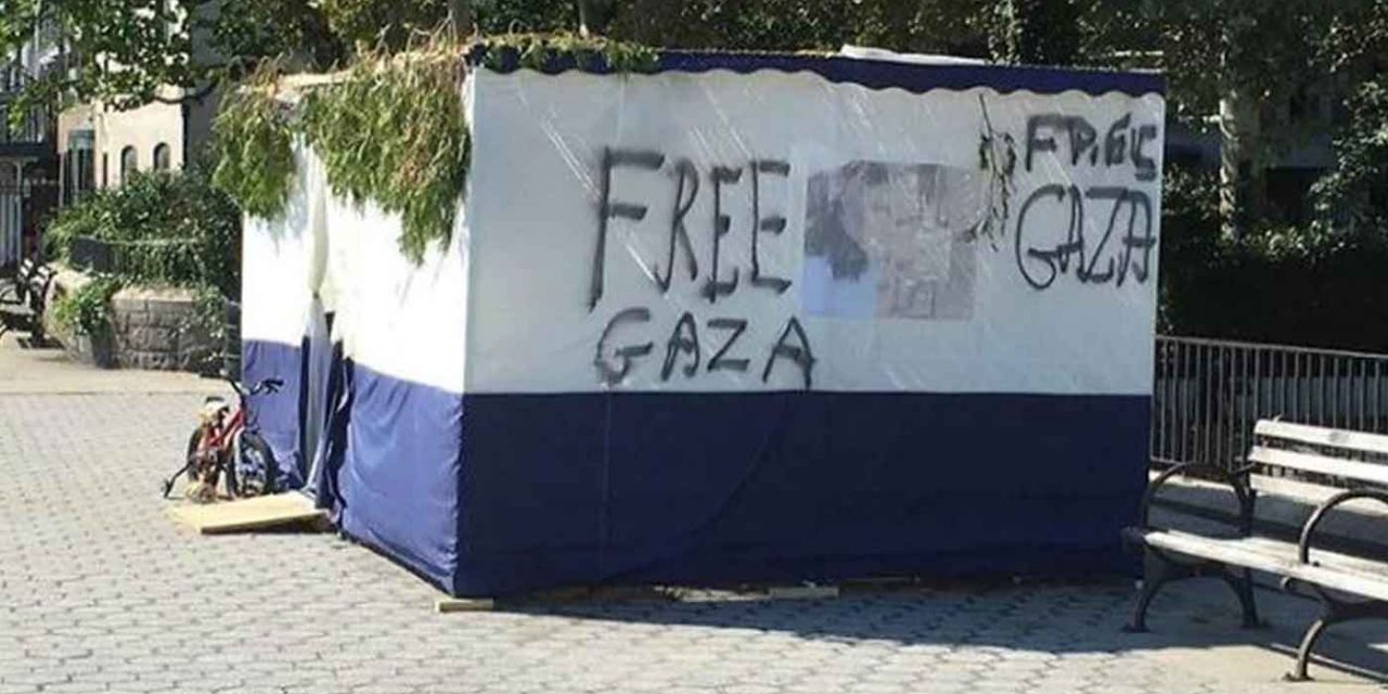 "Jewish Sukkah vandalised with ""Free Gaza"" graffiti in Manhattan"