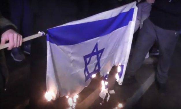Israeli flag burned at central London protest