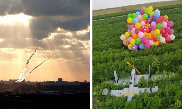 Gaza terrorists launch explosive device attached to balloons, fire rocket into Israel