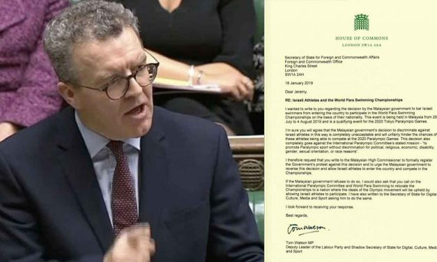 Tom Watson urges goverment to stand up to Malaysia over Israel athlete ban