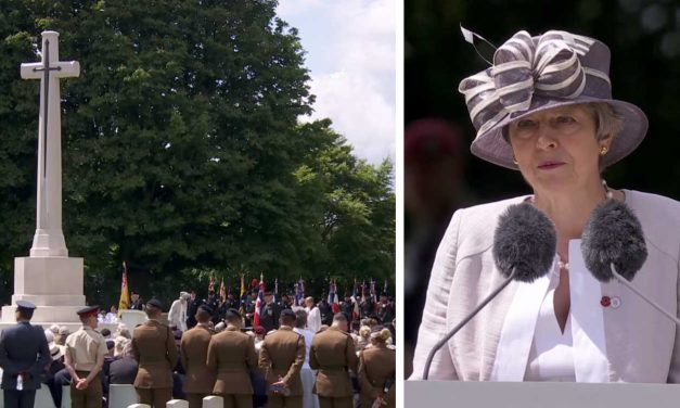 "Theresa May reads Micah ""Out of Zion"" Scripture at 75th D-Day ceremony in France"