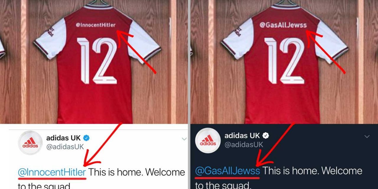 Anti-Semitic trolls prank Adidas and Arsenal's football kit promotion