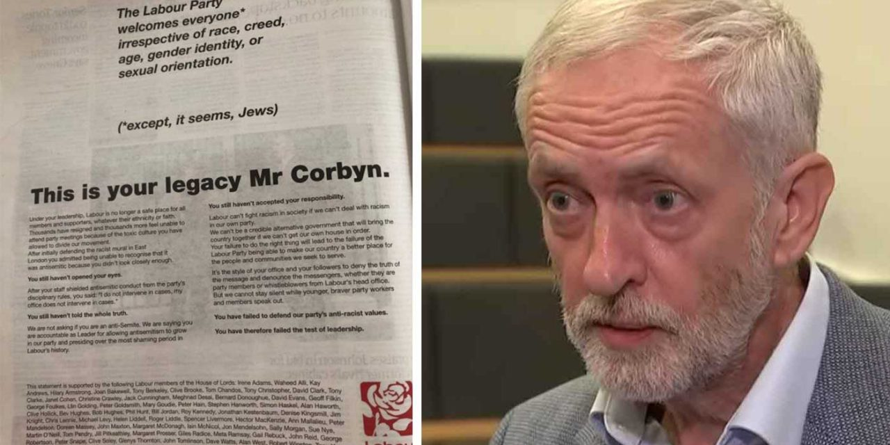 "One-third of Labour's peers sign letter saying anti-Semitism in party is Corbyn's ""legacy"""