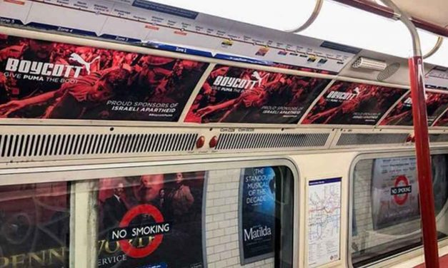 Anti-Israel posters illegally placed on London underground trains