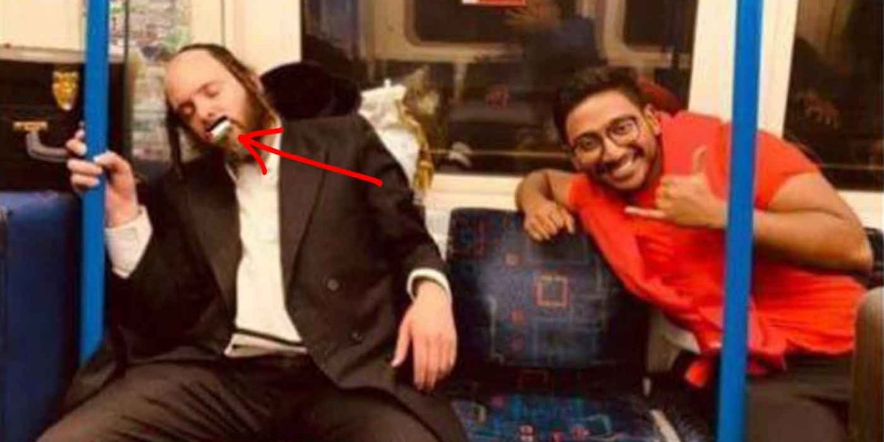 "Sleeping Jewish man has ""Palestine"" sticker placed over mouth on London tube"