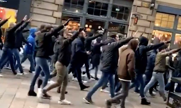 Lazio fans march through Glasgow making Nazi salutes