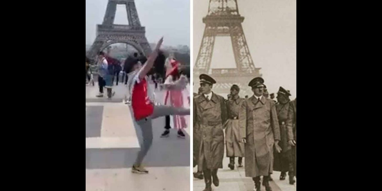Paris: Palestinian activist makes Nazi salutes on SAME spot Hitler walked in 1940