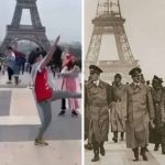 Pro-Palestinian protester at Far-Left march in Paris makes Nazi salutes on the SAME spot as Hitler in 1940